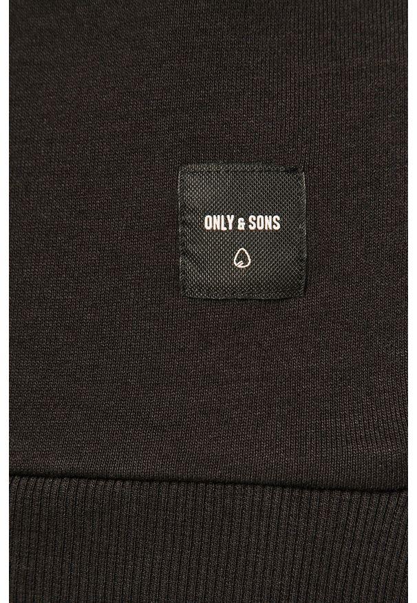 Czarna bluza nierozpinana Only & Sons casualowa, na co dzień, z okrągłym kołnierzem