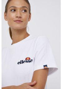 Ellesse - T-shirt bawełniany. Okazja: na co dzień. Kolor: biały. Materiał: bawełna. Wzór: gładki. Styl: casual