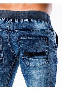 Ombre Clothing - Spodnie męskie jeansowe joggery P551 - jasno-niebieskie - XXL. Kolor: niebieski. Materiał: jeans. Wzór: aplikacja