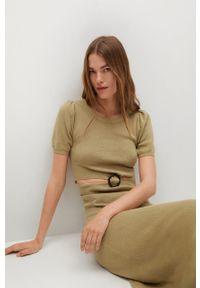 mango - Mango - Sukienka CAREY. Kolor: brązowy. Materiał: włókno, dzianina. Długość rękawa: krótki rękaw. Typ sukienki: rozkloszowane