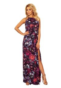 Fioletowa sukienka Numoco maxi, w kwiaty