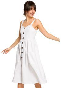 BE - Letnia sukienka z dodatkiem lnu ozdobne guziki. Materiał: len. Długość rękawa: na ramiączkach. Sezon: lato. Typ sukienki: dopasowane. Długość: midi