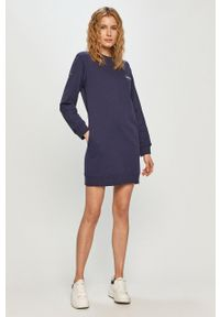 Niebieska sukienka Pepe Jeans prosta, gładkie, mini, z długim rękawem