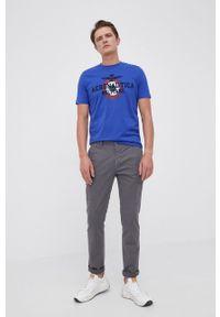 Aeronautica Militare - T-shirt bawełniany. Okazja: na co dzień. Kolor: niebieski. Materiał: bawełna. Wzór: nadruk. Styl: casual