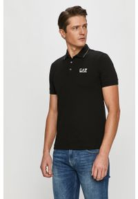 Czarna koszulka polo EA7 Emporio Armani polo, z aplikacjami, krótka