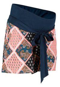 Szorty ciążowe bonprix ciemnoniebieski w graficzny deseń. Kolekcja: moda ciążowa. Kolor: niebieski