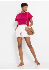 Shirt z koronką bonprix jeżynowo-czerwony. Kolor: różowy. Materiał: koronka. Wzór: koronka. Sezon: lato