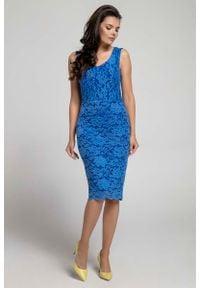 Nommo - Granatowa Dopasowana Sukienka Koronkowa bez Rękawów. Kolor: niebieski. Materiał: koronka. Długość rękawa: bez rękawów