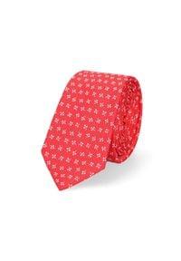 Lancerto - Krawat Czerwony. Okazja: do pracy, na co dzień. Kolor: czerwony. Materiał: tkanina, mikrofibra. Wzór: geometria. Styl: klasyczny, wizytowy, casual