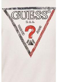 Biała bluza nierozpinana Guess casualowa, bez kaptura, z aplikacjami, na co dzień