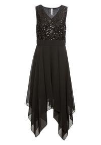 Czarna sukienka bonprix wizytowa, z dekoltem w serek, bez rękawów