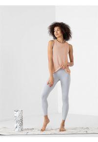 4f - Koszulka bez rekawów damska do jogi. Kolor: beżowy. Materiał: włókno, dzianina, materiał. Sport: joga i pilates