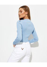 SELF PORTRAIT - Niebieski sweter z białym kołnierzem. Kolor: niebieski. Materiał: dzianina, koronka