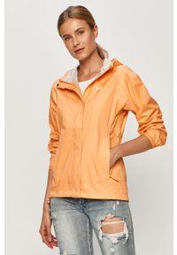 Pomarańczowa kurtka Helly Hansen z nadrukiem, na co dzień, z kapturem, casualowa