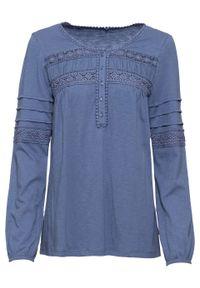 Niebieska tunika bonprix z długim rękawem, w koronkowe wzory, vintage