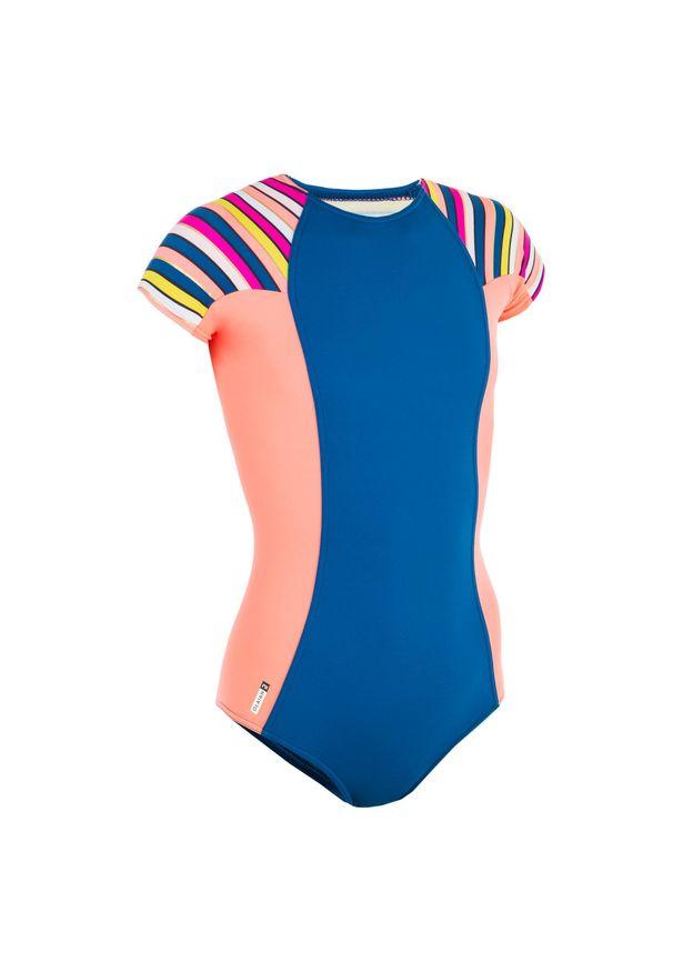 OLAIAN - Kostium Kąpielowy Jednoczęściowy Julie 500 Stripy Dla Dzieci. Kolor: czerwony, różowy, wielokolorowy