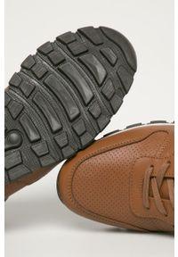 Brązowe sneakersy GOE na sznurówki, z okrągłym noskiem, z cholewką