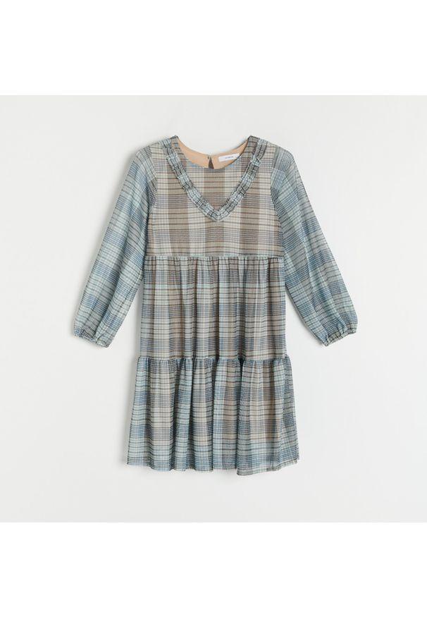 Reserved - Midi sukienka w kratę - Wielobarwny. Długość: midi