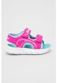 Różowe sandały skechers na rzepy