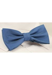 Chattier - Niebieska Elegancka Mucha z Białą Poszetką -CHATTIER- Męska, w Drobny Rzucik. Kolor: niebieski. Styl: elegancki
