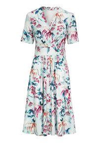Sukienka Cellbes z kopertowym dekoltem, w kwiaty, z krótkim rękawem, kopertowa