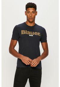 Niebieski t-shirt Blauer na co dzień, z okrągłym kołnierzem