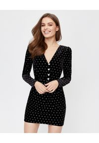 SELF PORTRAIT - Czarna sukienka mini z kryształami. Kolor: czarny. Długość rękawa: długi rękaw. Wzór: aplikacja. Styl: wizytowy, elegancki. Długość: mini