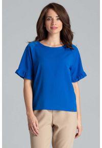 Katrus - Szafirowa Bluzka z Kimonowym Rękawem z Falbanką. Kolor: niebieski. Materiał: wiskoza, poliester, elastan