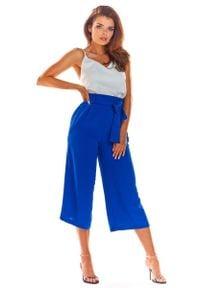 Awama - Niebieskie Stylowe Spodnie Kuloty z Wiązaniem. Kolor: niebieski. Materiał: poliester, elastan. Styl: elegancki