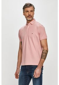 Różowa koszulka polo TOMMY HILFIGER polo, krótka