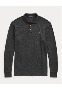 Ralph Lauren - RALPH LAUREN - Grafitowa bluzka z logo polo. Typ kołnierza: polo. Kolor: szary. Materiał: bawełna. Długość rękawa: długi rękaw. Długość: długie. Wzór: haft, kolorowy. Styl: klasyczny