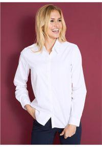 Bluzka ze stretchem i długim rękawem bonprix biały. Kolor: biały. Materiał: materiał. Długość rękawa: długi rękaw. Długość: długie. Styl: klasyczny