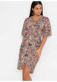 Sukienka ołówkowa z wycięciem bonprix piaskowy - paisley. Kolor: beżowy. Wzór: paisley. Typ sukienki: ołówkowe