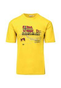Napapijri - T-shirt NAPAPIJRI STARLIGHT. Kolor: żółty. Materiał: bawełna