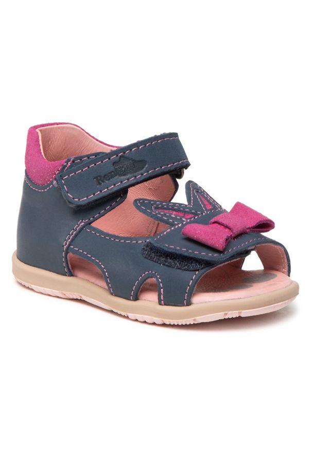 RenBut - Sandały RENBUT - 11-1557 Jeans 1. Kolor: niebieski. Materiał: skóra. Wzór: aplikacja