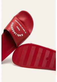 Karl Lagerfeld - Klapki. Kolor: czerwony. Materiał: guma. Obcas: na obcasie. Wysokość obcasa: niski