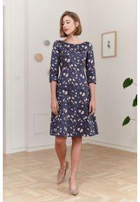 Marie Zélie - Sukienka Asteria Pellucida granatowa. Kolor: niebieski. Materiał: bawełna, satyna, skóra, materiał. Wzór: gładki. Typ sukienki: trapezowe. Styl: klasyczny