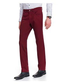 Czerwone spodnie TOP SECRET eleganckie, w kolorowe wzory