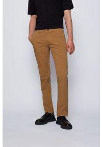 BOSS - Boss - Spodnie Boss Casual. Okazja: na co dzień. Kolor: brązowy. Materiał: tkanina. Wzór: gładki. Styl: casual