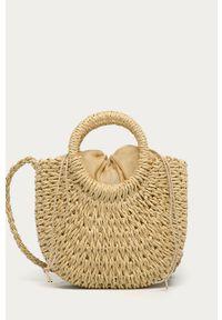 Beżowa torba plażowa ANSWEAR mała, wakacyjna, na ramię