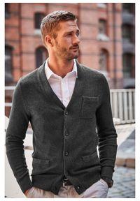 Sweter rozpinany z kaszmirem bonprix ciemnoszary melanż. Kolor: szary. Materiał: materiał, bawełna, kaszmir. Wzór: melanż
