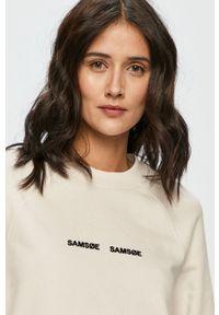 Biała bluza Samsoe & Samsoe z aplikacjami, bez kaptura, casualowa