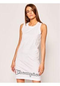 Champion Sukienka codzienna Script Logo Ribbed Trim 112657 Biały Regular Fit. Okazja: na co dzień. Kolor: biały. Typ sukienki: proste. Styl: casual