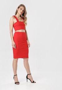 Born2be - Czerwony Komplet Aririssa. Kolor: czerwony. Materiał: dzianina, materiał, prążkowany. Wzór: gładki