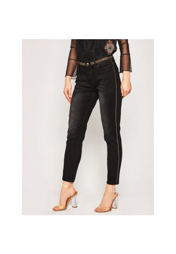 Czarne jeansy slim Desigual