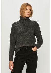 Szary sweter only z golfem, długi, z długim rękawem