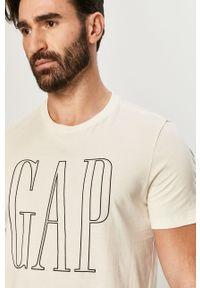 Kremowy t-shirt GAP z nadrukiem, casualowy, na co dzień