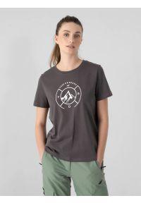 4f - T-shirt regular z nadrukiem damski. Kolor: wielokolorowy. Materiał: bawełna, dzianina, materiał. Wzór: nadruk. Sport: snowboard