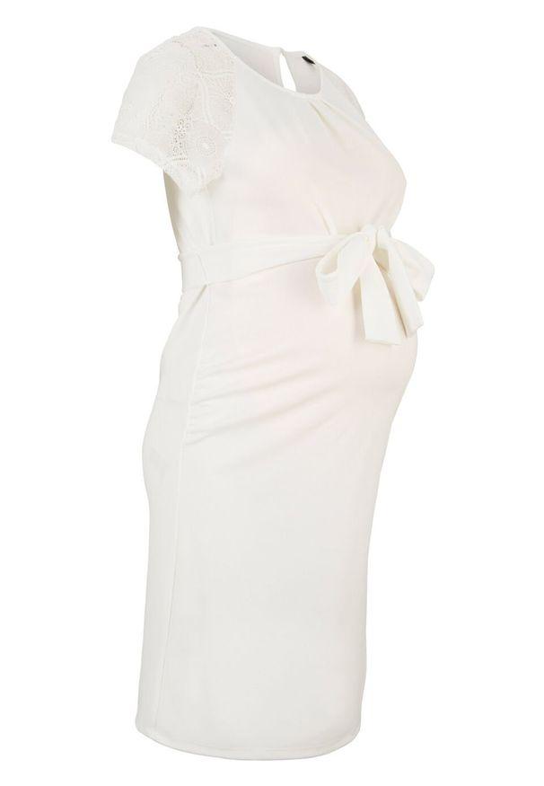 Sukienka ciążowa ślubna bonprix biały. Okazja: na ślub cywilny, na wesele. Kolekcja: moda ciążowa. Kolor: biały. Materiał: koronka. Wzór: koronka