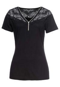Shirt z koronką i zamkiem bonprix czarny. Kolor: czarny. Materiał: koronka. Wzór: koronka